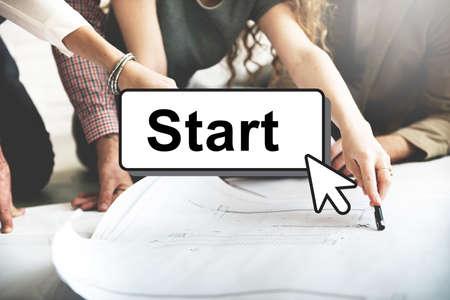 start up: Start Starter Begin Build Launch Motivate First Concept