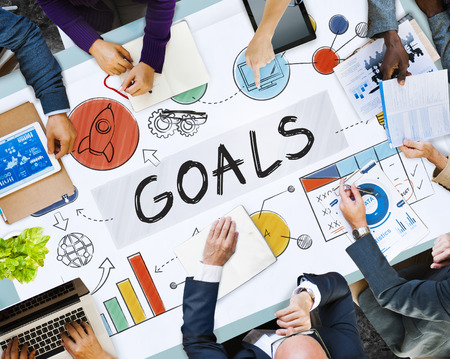 Business meeting with the word GOALS Stock Photo