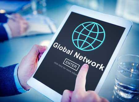 internet connection: Global Network Connection Social Network Technology Internet Concept Stock Photo