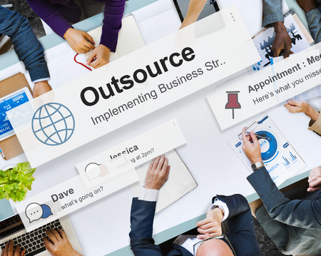 Business meeting with concept of outsource