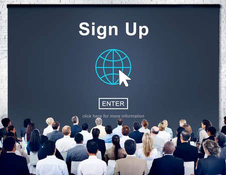 enroll: Sign Up Register Join Applicant Enroll Enter Membership Concept