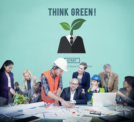 think green: Think Green Ecology Environmental Conservation Concept Stock Photo