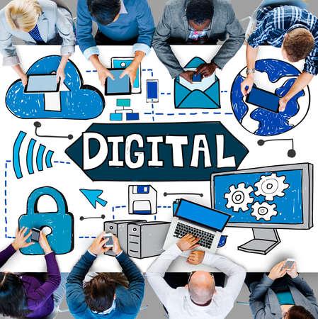work on computer: Digital Media Information Network Technology Concept
