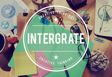 to incorporate: Integrate Membership Togetherness Merge Combine Concept Stock Photo