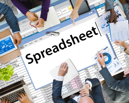 Business meeting with spreadsheet concept 스톡 콘텐츠