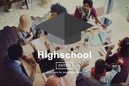 highschool: Highschool Education Learning Knowledge Research Concept Stock Photo
