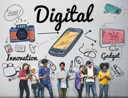 media gadget: Digital Gadget Innovation Sharing Media Concept Stock Photo