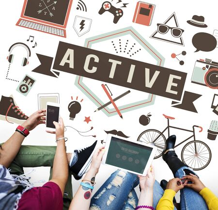 university students: Active Energetic Action Fitness Health Lifestyle Concept Stock Photo