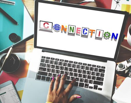 african descent: Connection Technology Internet Word Design Concept
