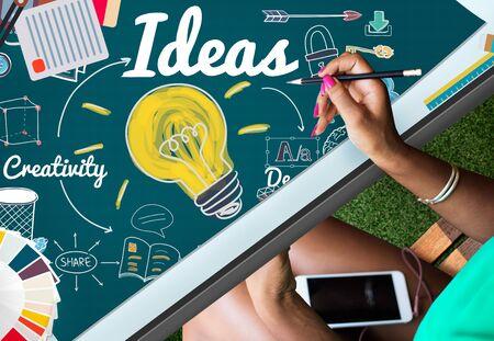 objective: Ideas Idea Vision Design Plan Objective Mission Concept Stock Photo