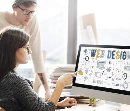computer screen: Web Design Technology Browsing Programming Concept Stock Photo