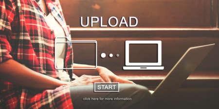 downloading: Uplaod Downloading Transfer Sharing Concept