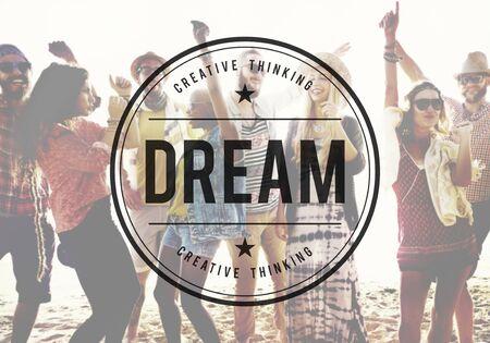 Dream Dreamer Dreaming Goal Hoopvol Target Concept Stockfoto