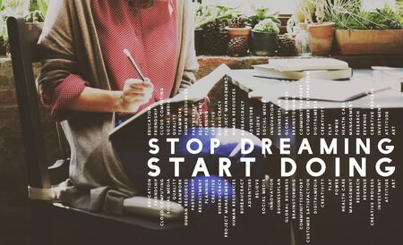 phrase: Stop Dreaming Start Doing Phrase Concept Stock Photo