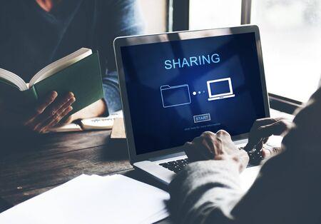 sharing information: Sharing Information Networking Social Media Concept