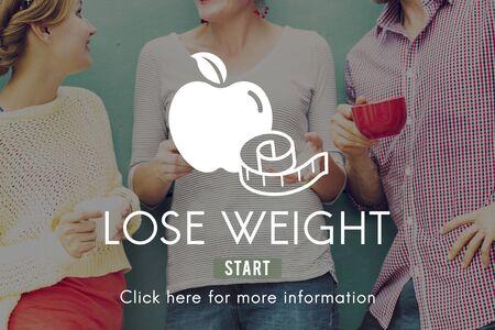 dieta sana: Perder peso de balance de gimnasio delgado Concepto Nutrición Dieta
