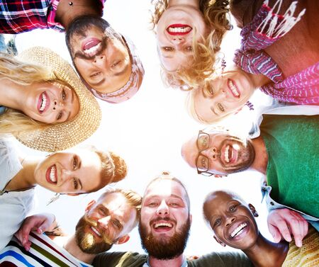 ethnic diversity: Friendship Huddle Happiness Beach Summer Concept