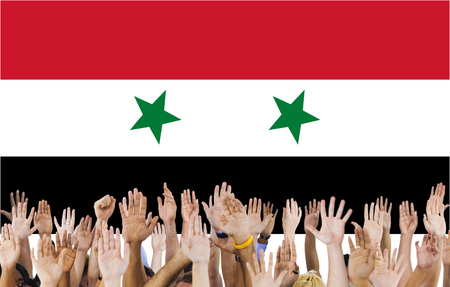 raise the white flag: Syria National Flag People Hand Raised Concept