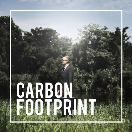 attache case: Carbon Footprint Environment Climate Concept Stock Photo