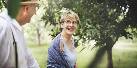 Senior Adult Couple Love Romance Nature Park Concept Stock Photo