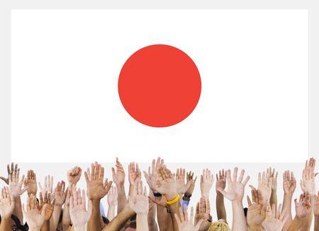 raise the white flag: Japan Flag Patriotism Japanese Pride Unity Concept