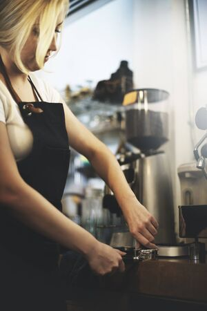 steam machine: Apron Barista Cafe Coffee Pouring Steam Machine Concept