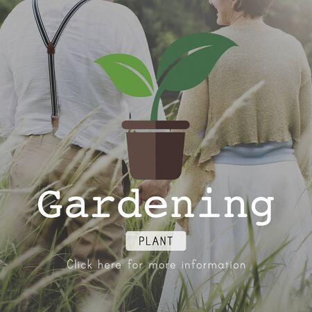adult footprint: Go Green Gardning Conservation Environmental Concept Stock Photo