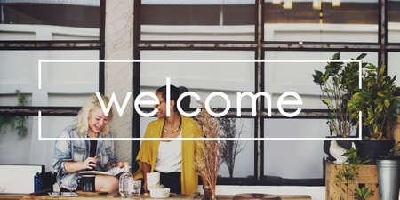 shop sign: We are Open Welcome Notice Message Shop Sign Concept