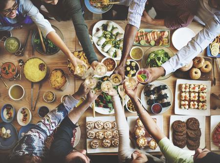 dessert buffet: Friends Happiness Enjoying Dinning Eating Concept