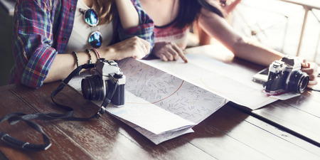 hangout: Girls Friendship Hangout Traveling Holiday Photography Concept