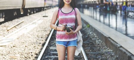 hangout: Girl Adventure Hangout Traveling Holiday Photography Concept Stock Photo
