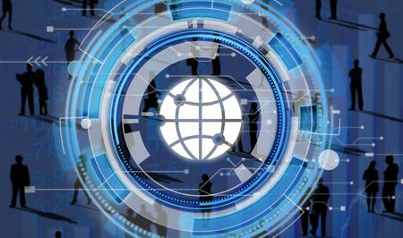 social gathering: Digital Blue Hud Interface Global Concept