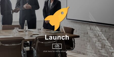 begin: Launch Start Begin Rocket Ship Icon Concept