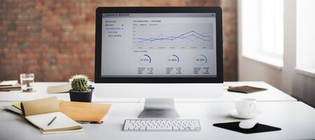 financial reports: Computer Graph Growth Success Finance Economy Concept Stock Photo