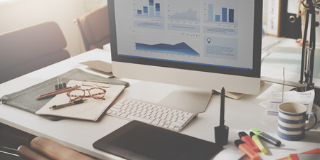 Computer Graph Growth Success Finance Economy Concept