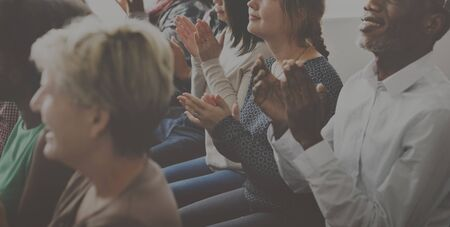 applaud: Audience Applaud Clapping Happines Appreciation Training Concept Stock Photo