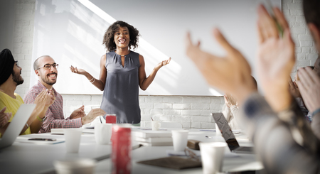 Presentation Business Office Woman Applaudissements Concept
