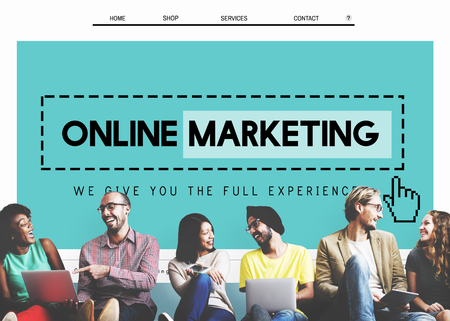 marketing online: Online Marketing Homepage Website Digital Concept Stock Photo