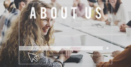 about: About Us Profile Join Information Concept Stock Photo