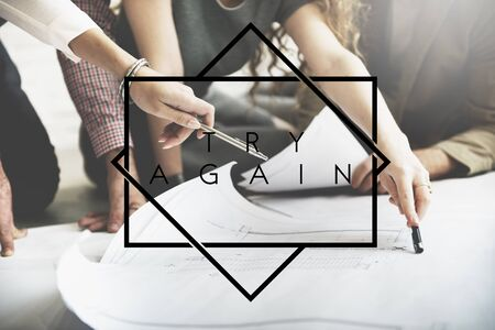 Try Again Encouragement Motivate Retry Creative Concept Stock Photo