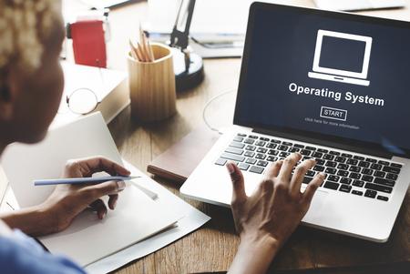 オペレーティング システムのアクセス接続インターフェースの概念 写真素材