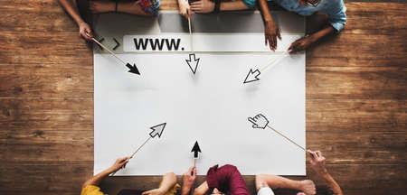 team hands: Diverse People Hands Team Browser Illustration Concept Stock Photo