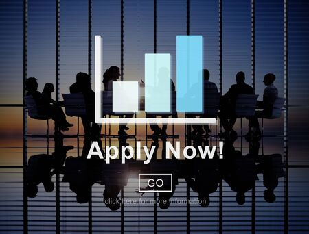 people working: Apply Now Application Employment Work Concept Stock Photo