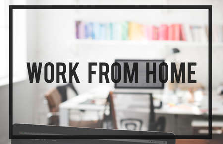 home office interior: Work From Home House Interior Office Busienss Concept Stock Photo