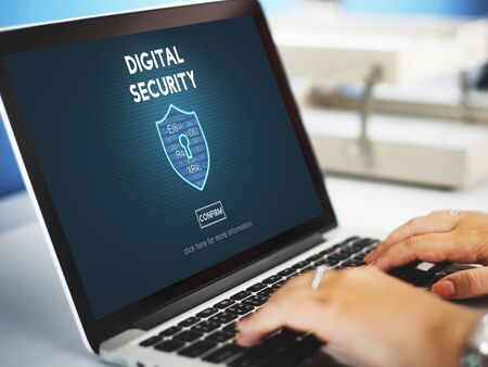 online privacy: Digital Security Privacy Online Security Protection Concept Stock Photo