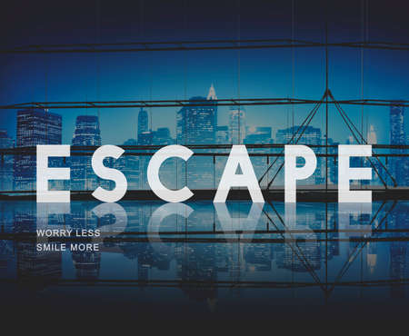 evacuacion: Escapar Salida Concepto del desbloqueo de evacuaci�n Foto de archivo