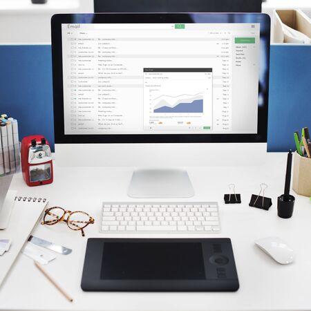 attachment: Send Email Business Chart Attachment Report Concept Stock Photo