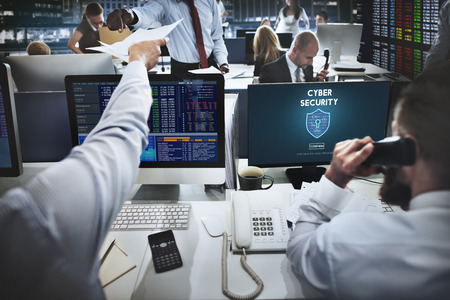 stock exchange brokers: Cyber Security Protection Firewall Interface Concept Stock Photo