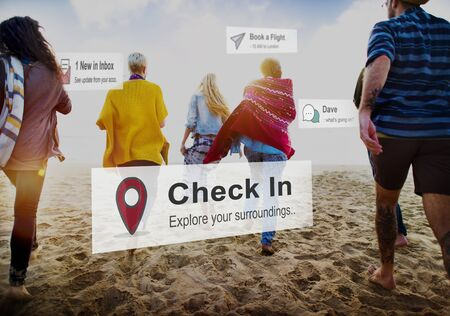 check in: Check In Location Mark Navigation Concept