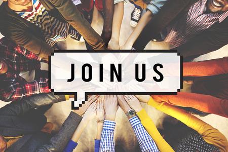 Begleiten Sie uns Joining Mitgliederwerbung Konzept Mieten Lizenzfreie Bilder
